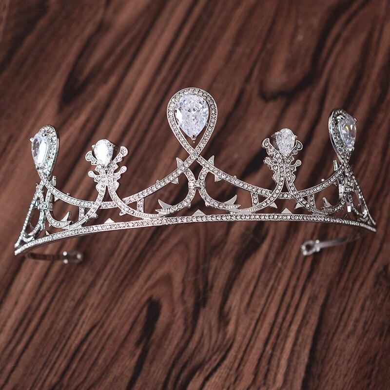 European Brides Zircon Crown Princess Queen Crowns Cubic Zirconia Wedding Tiaras Headdress Women CZ Jewelry Bridal Tiara CR078