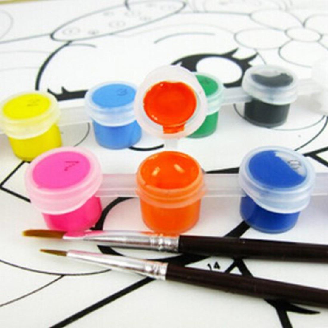 12 Colors With 2 Paint Blue Brushes Per Set Acrylic Paints For Oil Painting Nail Art Clothes Art Digital Random Color