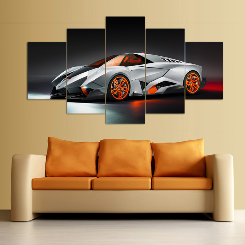 Hd Wall Art Picture Gift Unframed 5panel Cool Silvery White Sports Car Top  Rated Canvas Print Painting For Living Room F/897 In Painting U0026 Calligraphy  From ...