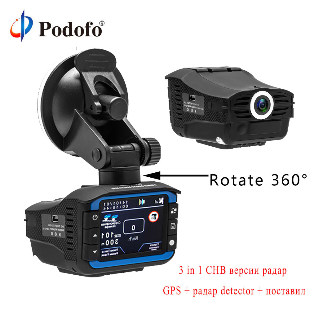 Podofo Russian 3 in 1 Car DVR Radar Detector GPS Tracker Car DVR Camera Driving Recorder Anti Radar Dash Cam Electronic Dog