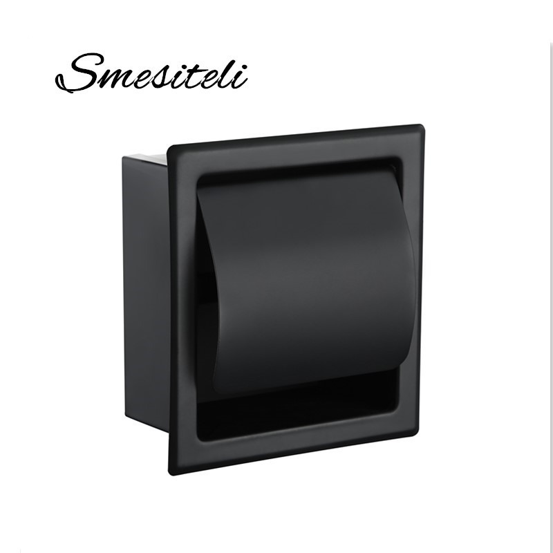 Smesiteli SUS304 Matte Black Or Chrome Toilet Paper Holder Waterproof Paper Shelf Wall Mounted Tissue Box Home Storage