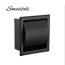 Smesiteli SUS304 Matte Black Or Chrome Toilet Paper Holder Waterproof Paper Shelf Wall Mounted Tissue Box Home Storage