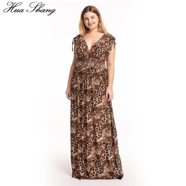 e2f8d75431c5a2 5xl 6xl 7xl grande taille robe léopard femmes été col en V sans manches dos  nu Sexy bohème Maxi longue tunique robes de plage