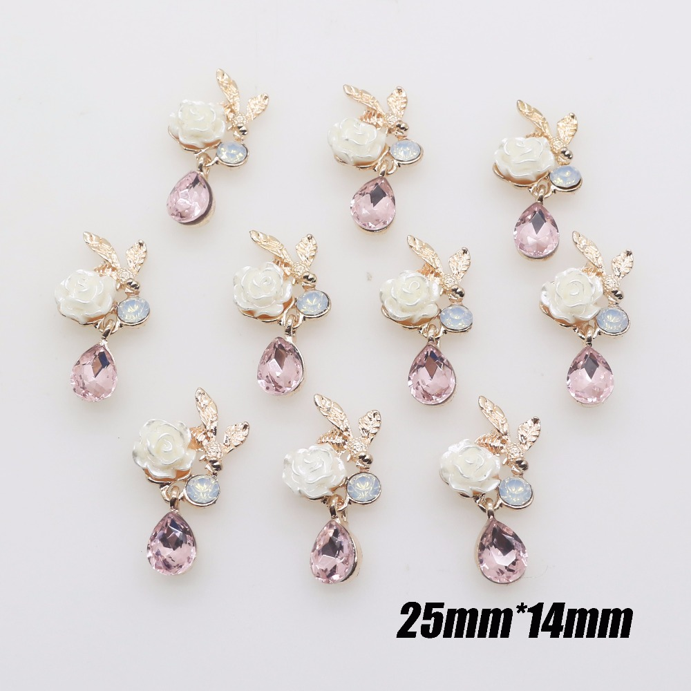 Charm 10PCS Mini Metal Hanging Pearl Buttons DIY Craft Flatback Crystal button Horse eye gold button