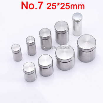Free Shipping 50PCS 25*25mm Stainless Steel Advertisement Nails Screws Hollow Mirror Glass Fixing Screws Standoffs Pin Nails