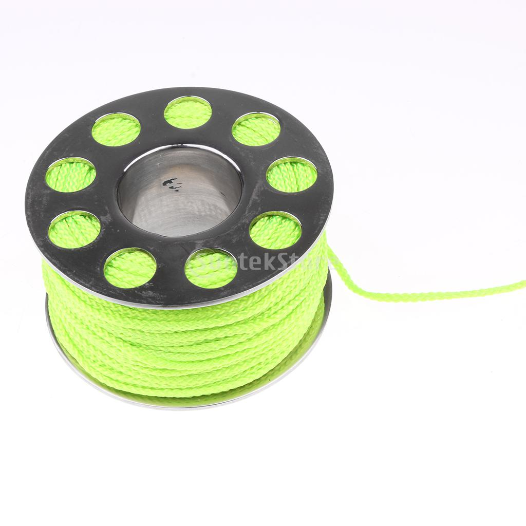 Underwater Writing Slate 31m Scuba Finger Reel Dive Spool Fluorescent Green Line with Handle /& Clip