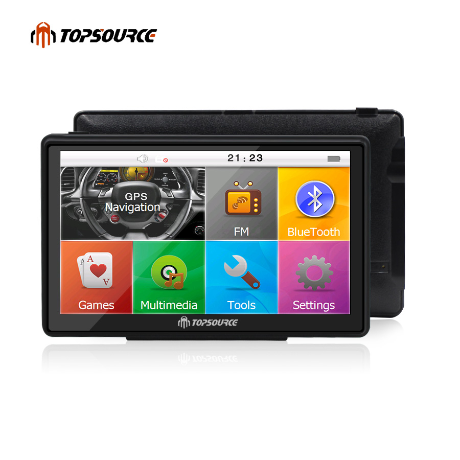 TOPSOURCE 7 inch Car GPS Navigation Capacitive screen FM Built in 8GB/256M Map For Europe/USA+Canada Truck vehicle gps Navigator aw715 7 0 inch resistive screen mt3351 128mb 4gb car gps navigation fm ebook multimedia bluetooth av europe map