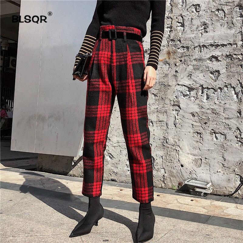 Frauen Plaid Harem Hosen Fliege schärpen Paperbag Taille Taschen Gefaltete Damen Casual Chic Wolltuch Hosen Pantalones