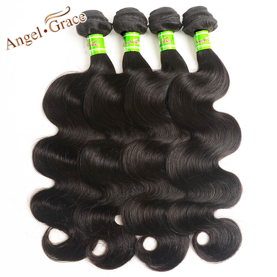 Angel Grace Hair Indian Body Wave Hair 4 Bundles Lot Remy Hair Weaving 100g pc Natural