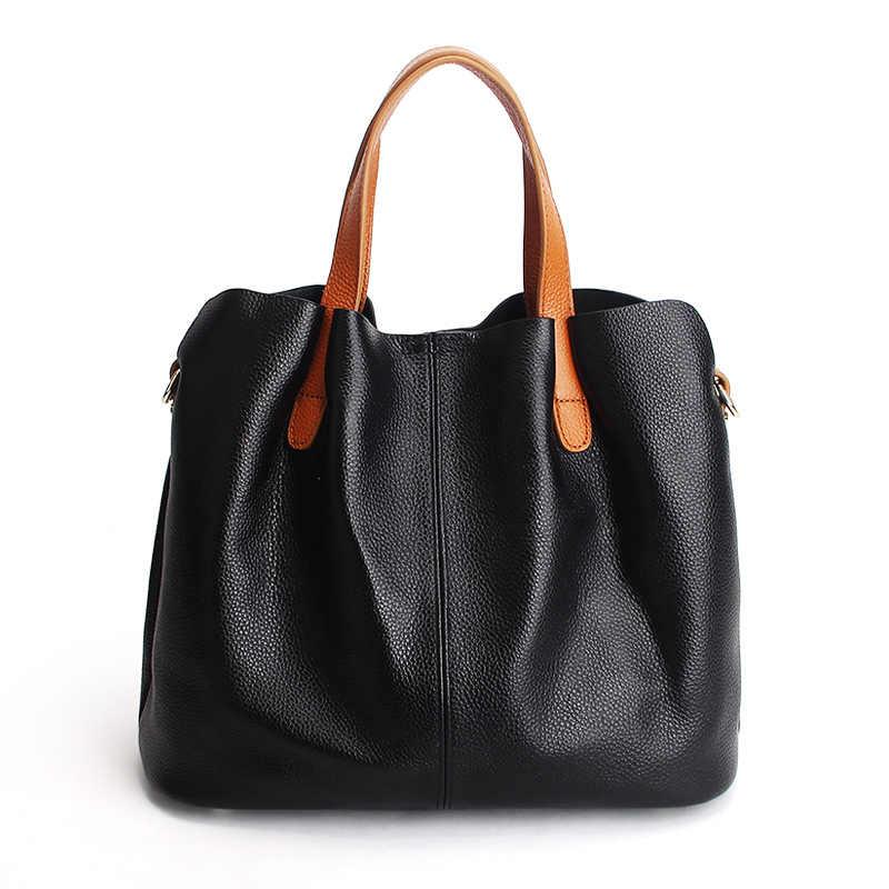 Дамские сумочки из натуральной кожи из воловьей кожи с накладкой спереди и зернистой фактурой для женщин сумки модные Портативный плечо курьерские Сумки композитные