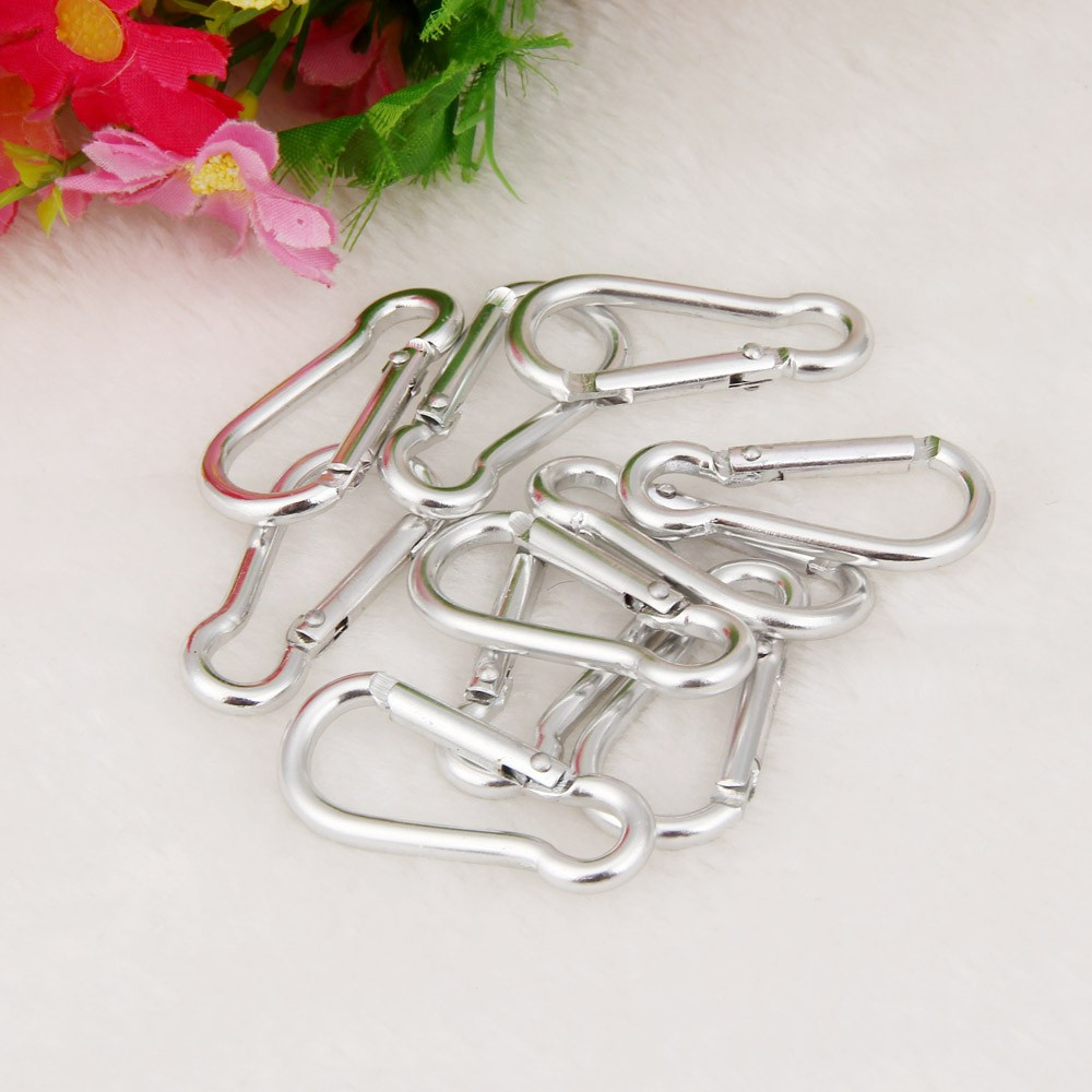 10pcs Aluminum Alloy Carabiner D-Ring Key Chain Clip Keychain Hiking Camp Mountaineering Hook Climbing Accessories M22