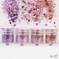 Nail Art 10 ml Rosa Púrpura Mezclado Forma Del Clavo Del Brillo Del Polvo Del Brillo Del Hexágono Polvo de Hojas de Consejos de Uñas de Arte Del Sistema 1 Caja