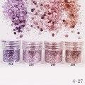 Nail Art 10 ml Rosa Roxo Mixed Prego Pó Glitter Hexagon Forma Glitter Prego Pó de Folhas de Dicas Da Arte Do Prego Conjunto 1 Caixa
