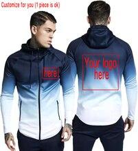 2019 New fashion hooded gradual change zipper hoodie for men unisex custom customizing