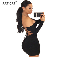 Articat Backless Cross Bandage Dress Women 2017 Sexy Off Shoulder Long Sleeve Party Dresses Short Bodycon
