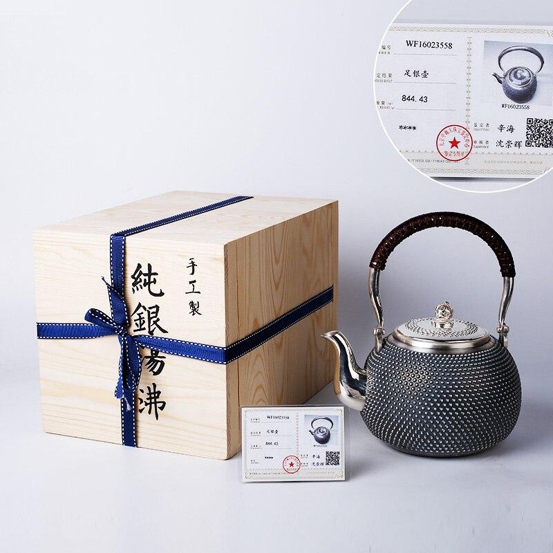 Большой Ёмкость 1.15l маленький чайник 999 Серебряный sterlinghandmade 99% чистого серебра Чай горшок китайский Чай набор кунг фу чашки горшок ручной ра