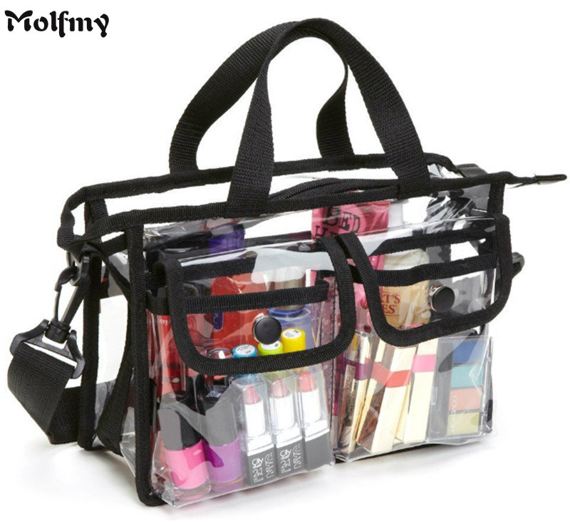 Clear PVC Makeup Cosmetic Toiletry Bags with Removable and Adjustable Shoulder Strap Available for Customize make up bags