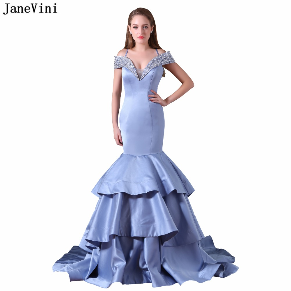 JaneVini Sexy Mermaid Beaded Long   Bridesmaid     Dresses   for Women Off the Shoulder Sheer Back Satin Formal Prom Gowns Sweep Train