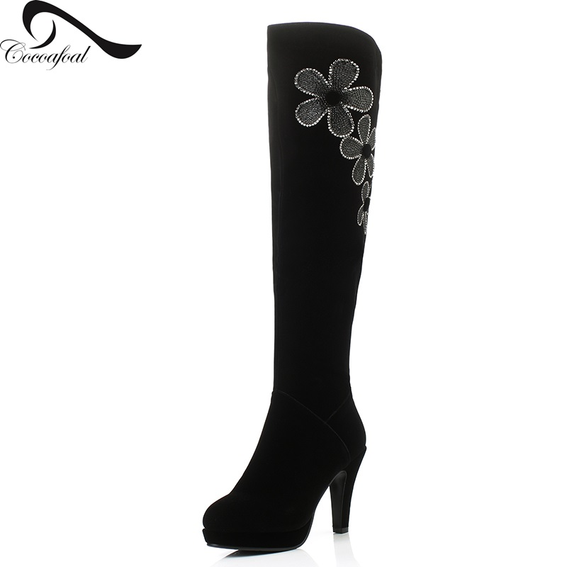 ФОТО Woman Rhinestone Long Boots Winter Short Plush Nubuck Leather Spike Heels Knee Boots Thicken Warm Black Rhinestone Long BNoots