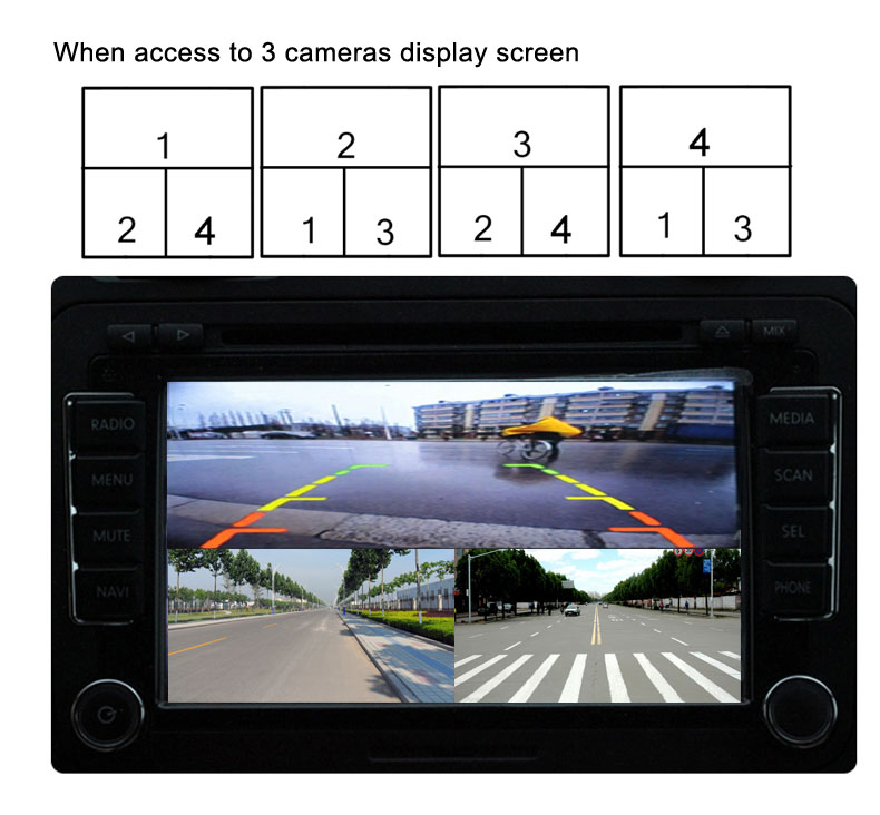 SD Card Intelligent Mini car Recorder DVR Panoramic driving Monitoring Traffic Recorder four views video 4 channel CCd camera