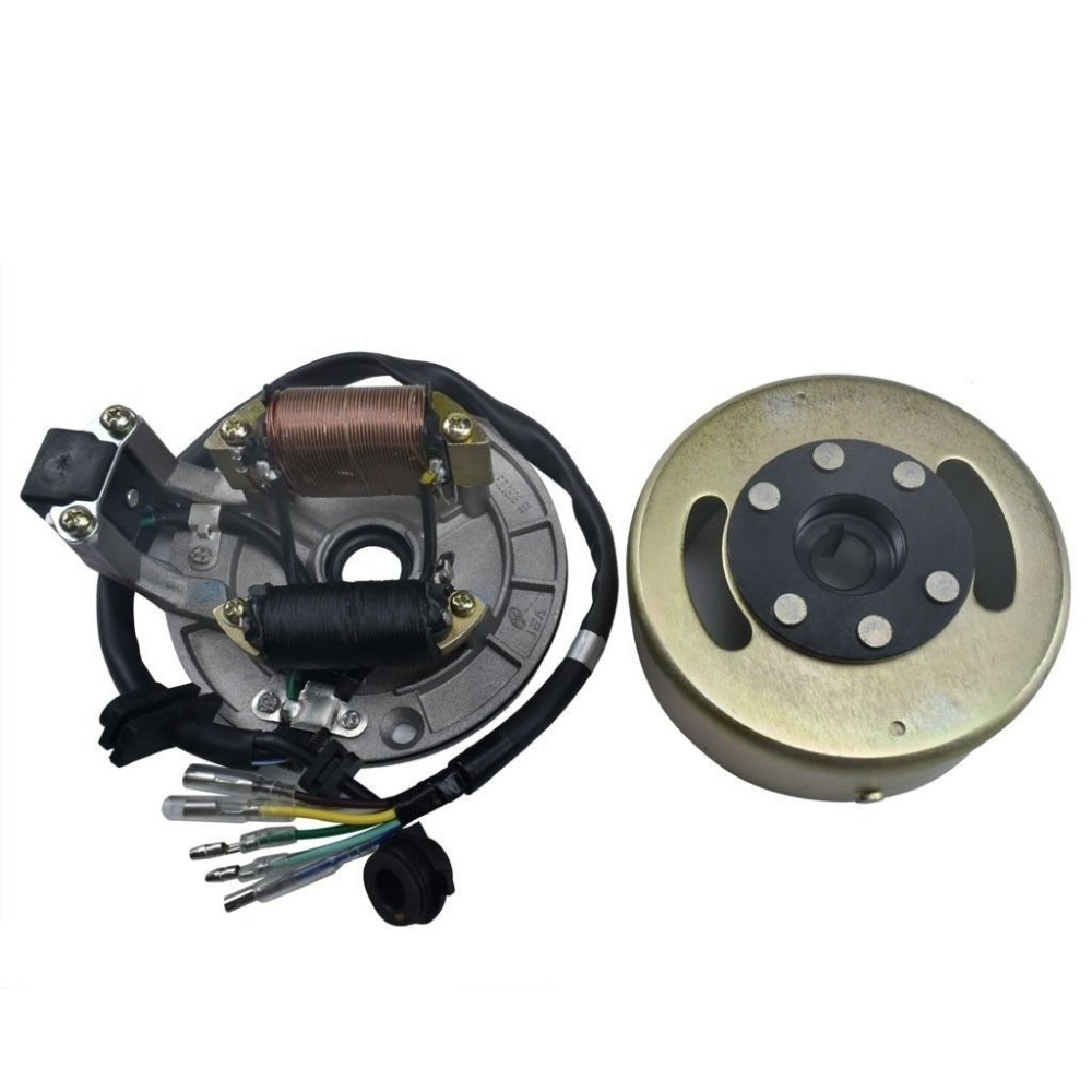 Magneto Stator Ignition Generator Plate Flywheel Assembly Kit 2 Coils For 50cc 125cc Dirt Pit Bike