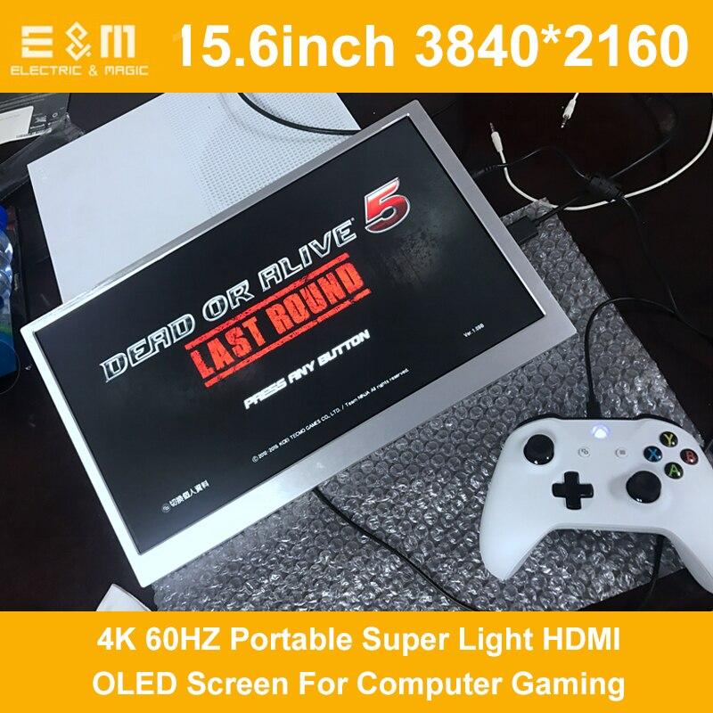 15.6 pouce 4 k Portatif Super Léger HDMI Écran OLED Pour Le Jeu D'ordinateur 3840*2160 60 hz Avec haut-parleur