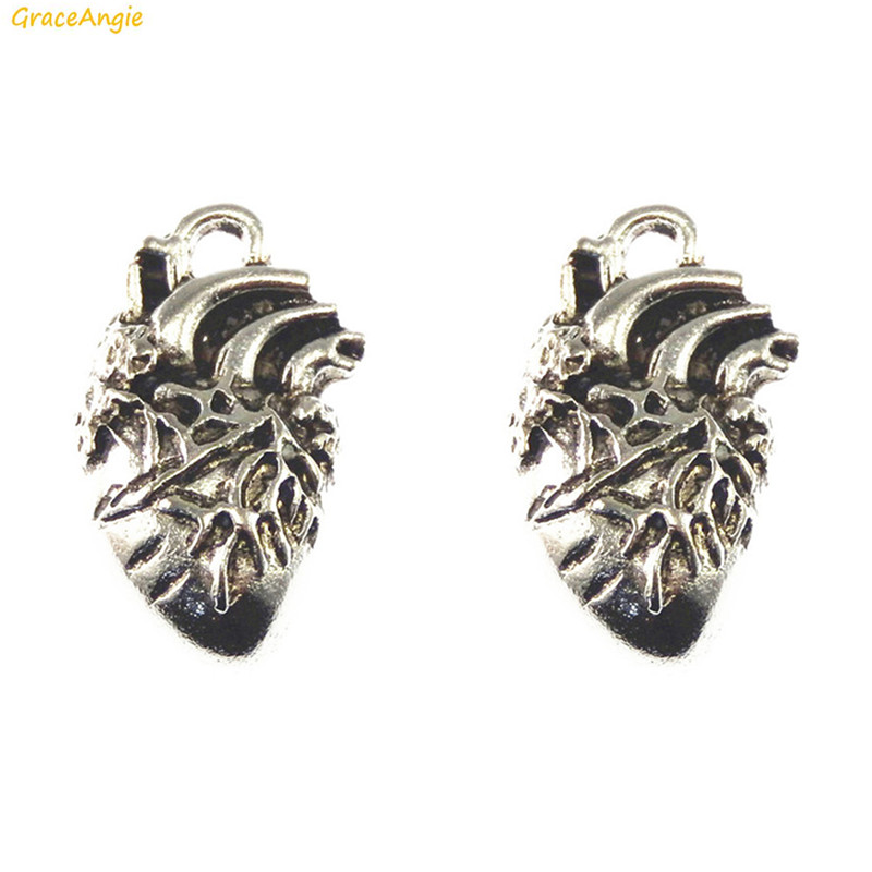 GraceAngie 10PCS Silver Tone Charms Human Heart Shape Organ One Side Alloy Pendant DIY Punk Jewelry Necklace Keychain Findings