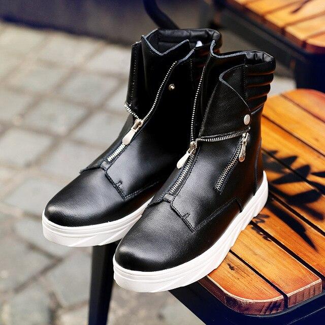 Sıcak 2018 Moda erkek ayakkabısı Bahar Sonbahar yarım çizmeler Erkekler Rahat Zip Ayakkabı Erkekler Rahat Erkek Martin Çizmeler Punk Stil Kış