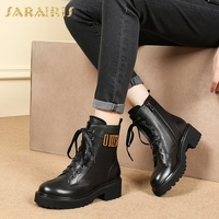SARAIRIS dropship plus size 34 43 genuine leather natural cow leather women's Ankle Boots Shoes Boots Shoes Woman