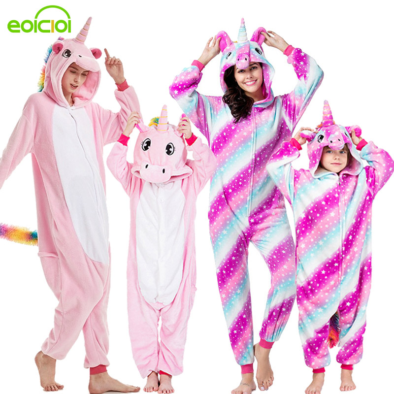 21 NEW Women Kids Animal Pegasus Unicorn Stitch Pajamas Cute Family Matching Outfit Winter Family Sleepwear Mother Kids Pyjamas