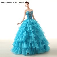 Blue/Red/Purple Ball Gown Princess Quinceanera Dresses Girls Crystals Beaded Masquerade Vestidos De 15 Anos Sweet 16 Dress