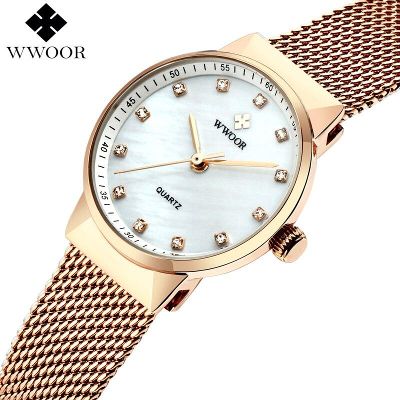 Las mujeres de WWOOR impermeable reloj de cuarzo mujeres oro rosa pequeño reloj marca de lujo pulsera de malla de acero vestido reloj Mujer