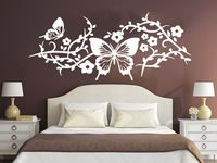 Wall Decal Floral Patterns Vinyl Sticker Decals Flowers Butterfly Bedroom