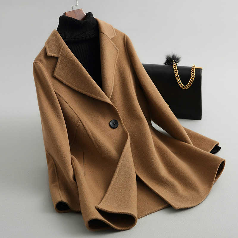 AYUNSUE Casual mujer abrigo de lana Otoño Invierno abrigos Color Camel doble Lado de lana chaqueta femenina exterior abrigo mujer 38059 WYQ1421