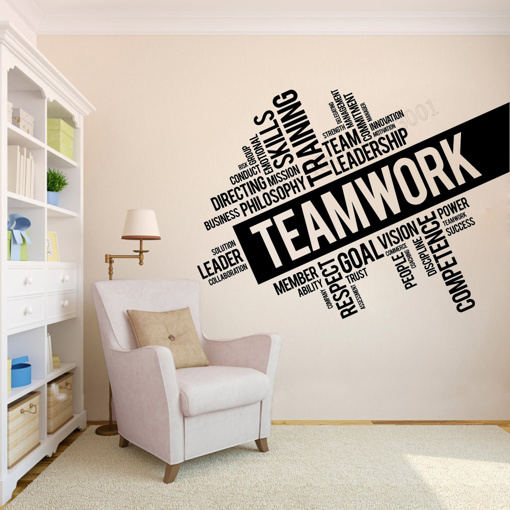Art Wall Sticker Team Work Wall Decoration Inspirational Office Words Poster Removeable Vinyl Art Mural Space Team Decor LY83 in Wall Stickers from Home Garden