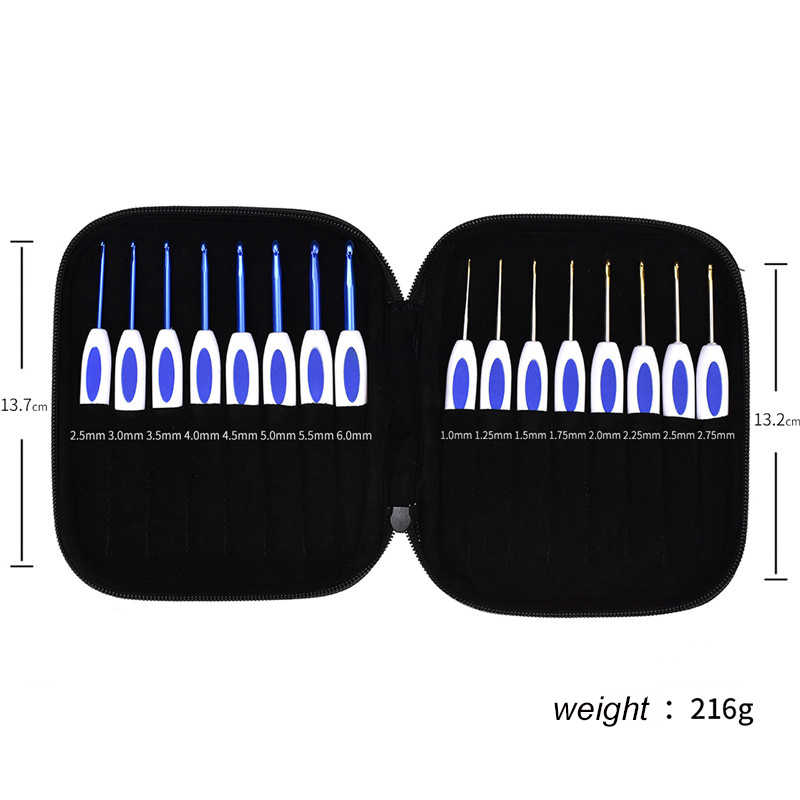 Tân Cổ Điển Phong Cách Móc Bộ 16 viên Mix Kích Cỡ 1.0-6.0mm Nhôm Móc Kim Với Ốp Lưng Áo Len dệt Dụng Cụ Đan