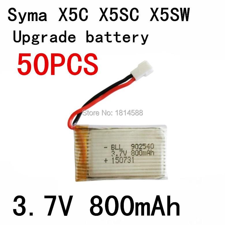 50 pièces 800 mAh Batterie Pour Syma X5 X5C X5SW X5C-1 V931 H5C CX-30 CX-30W SS40 FQ36 T32 T5W H42 quadrirotor Pièces De Rechange