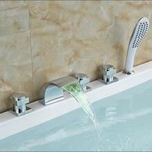 Новый LED Цвет Изменение Водопад Ванной Кран Широкое Палуба Гора Ванная Комната Ванна Смесители Хромированная Отделка