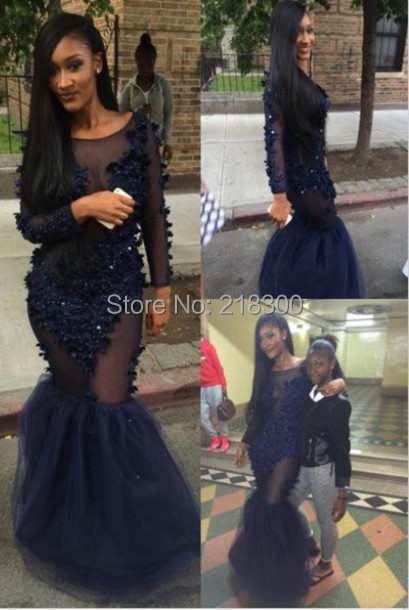 See through lace formal dress