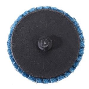 "Image 2 - 10pcs/Set 2""/50mm Lug Sanding Grinding Wheel 60 Grit Flap Type R Roloc Disc Wheels Wood Metal Plastic Abrasive Tool"
