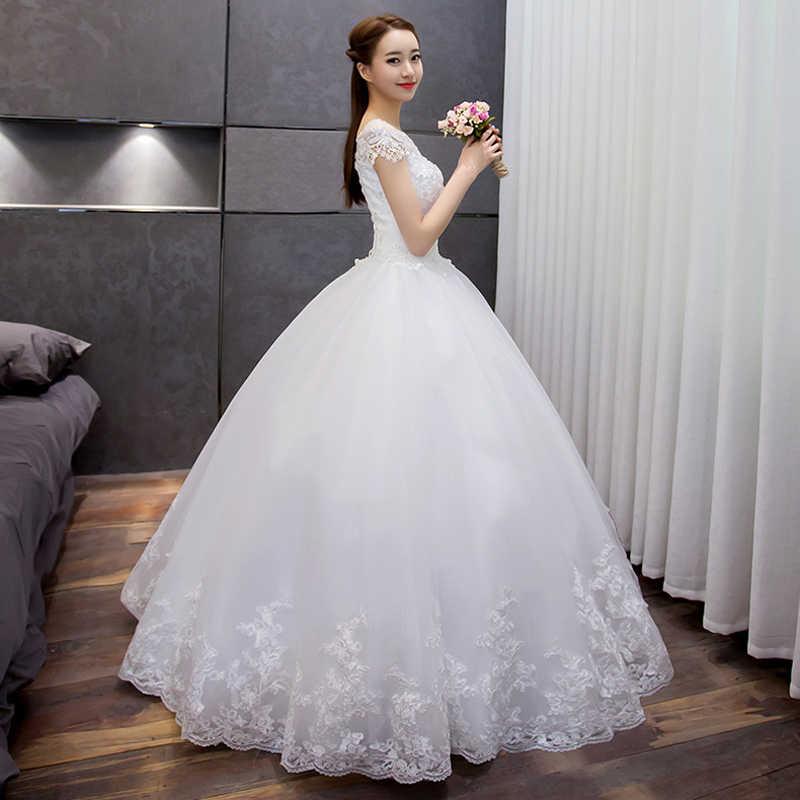 כלה חרוזים נצנצים קו תחרת שמלות כלה 2018 לנכש טול שווי שרוול ארוך שמלת כלה