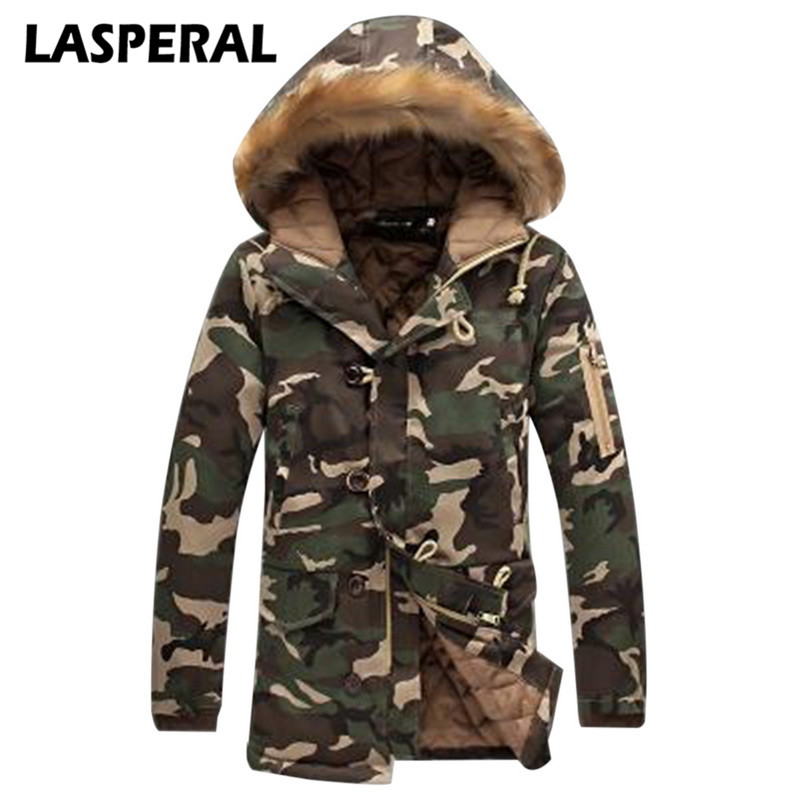 LASPERAL Plus Size 5XL 4XL 3XL Men Long Jacket Parkas Fashion Camouflage Hooded Overcoat Male Fur Collar Snowcoats Z30