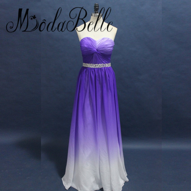 ce0a3abeca6 modabelle 2017 Beautiful Beaded Gradient Prom Dress Purple White Chiffon  Long Ombre Formal Dresses For Evening Party