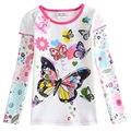Мода детей футболки девочка майка с длинным рукавом с вышивкой и с бантом и buterfly хлопок одежда для девочек