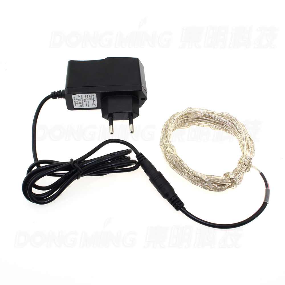 12V 10m 100 led string light holiday decoration home party festival led christmas lights copper wire + 220V to 12V 1A adapter