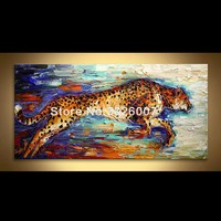 High Quality Hand Painted Animal Abstract Silver Mustang Palette Knife Oil Painting Canvas Home Decor Living
