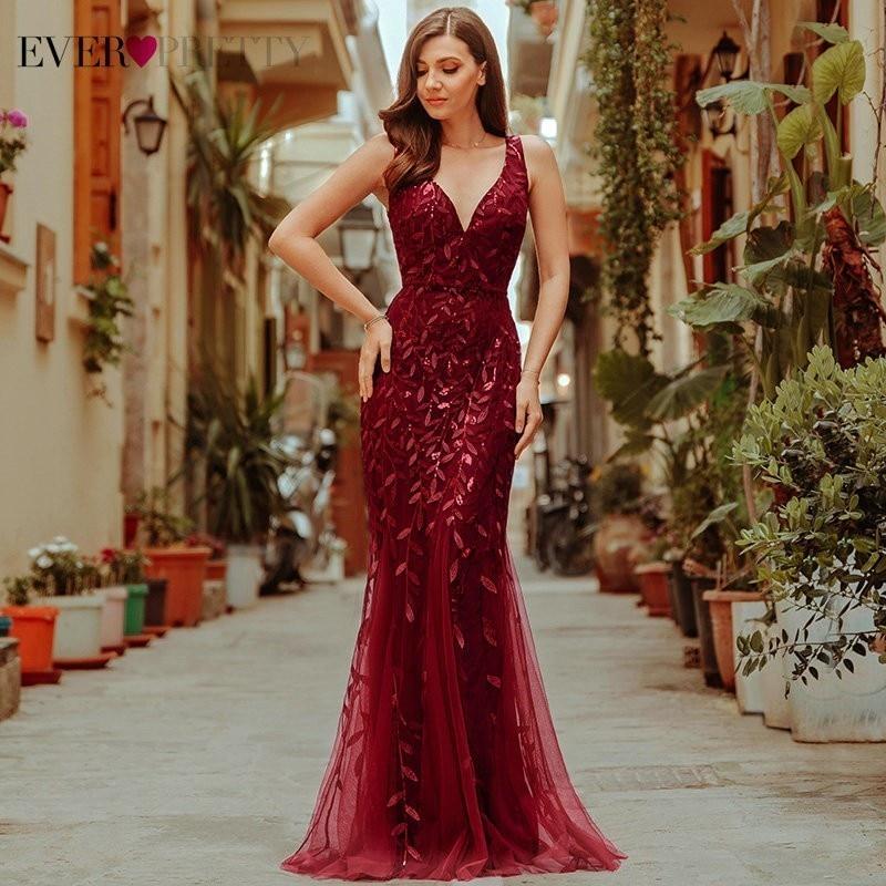 Burgundy Evening Dresses Ever Pretty EP07886 V-Neck Mermaid Sequined Formal Dresses Women Elegant Party Gowns Lange Jurk 2019