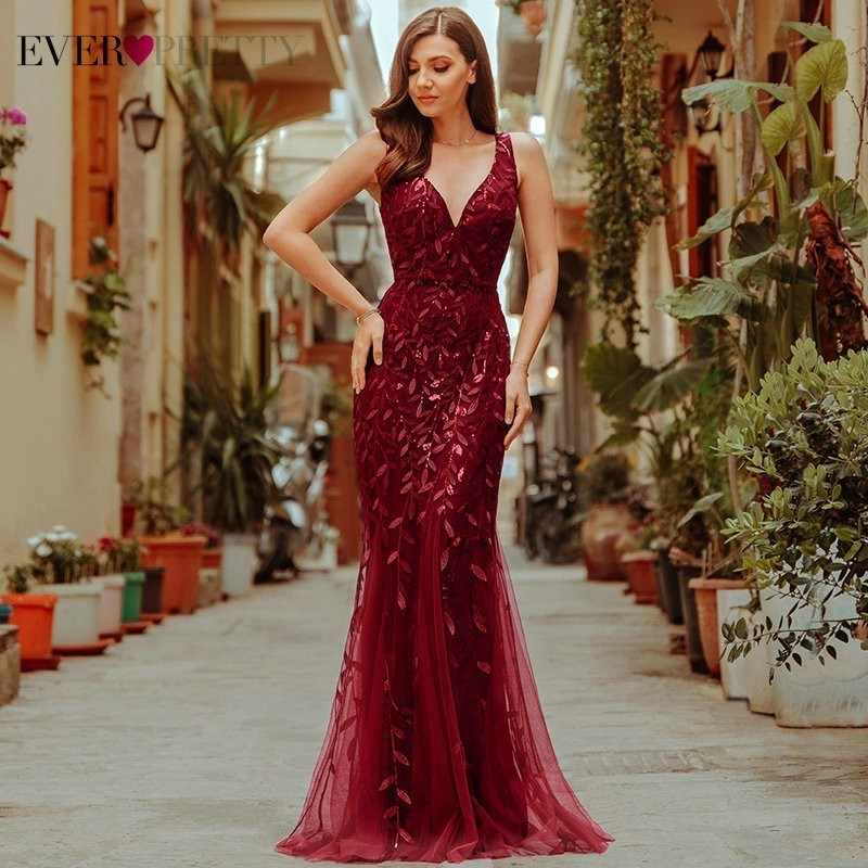 Burgundy Evening Dresses Ever Pretty EP07886 V-Neck Mermaid Sequined Formal Dresses Women Elegant Party Gowns Lange Jurk 2019