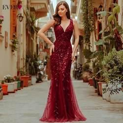 Бордовые вечерние платья Ever Pretty EP07886 с v-образным вырезом Русалка блестками вечерние платья женские элегантные платья для вечеринки Lange Jurk