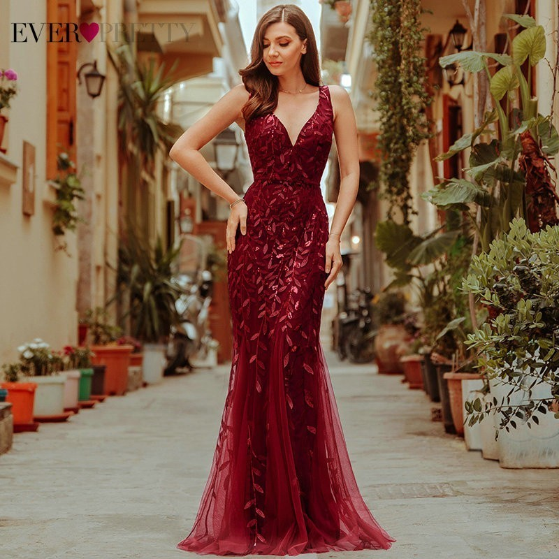 Bordeaux robes de soirée jamais jolie EP07886 v-cou sirène paillettes robes formelles femmes élégantes robes de soirée Lange Jurk 2019